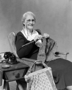 Old picture of elderly lady knitting