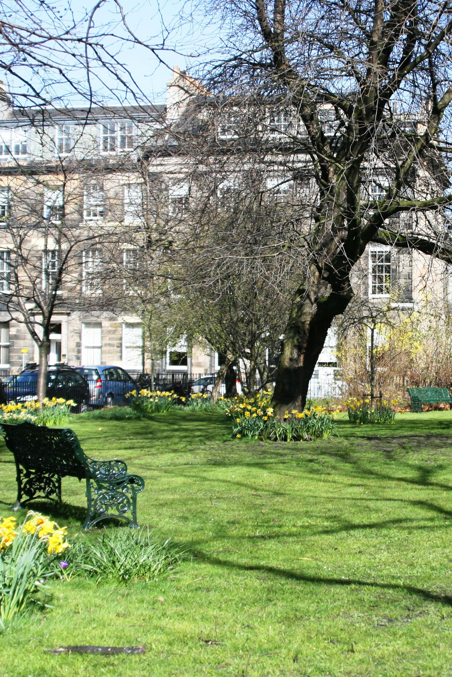 Photo of the RSSWS offices in Rutland Square, Edinburgh, in springtime.